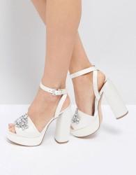 ASOS HOLLYWOOD Bridal Embellished Platform Sandals - Cream