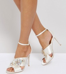 ASOS HOLY GRAIL Wide Fit Embellished Heeled Sandals - White