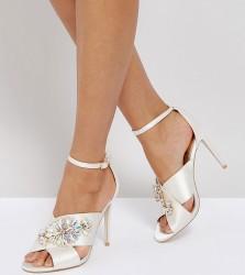 ASOS HOLY GRAIL Wide Fit Embellished Heeled Sandals - White