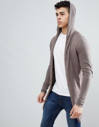 ASOS Hooded Open Front Cardigan With Curved Hem In Taupe - Green