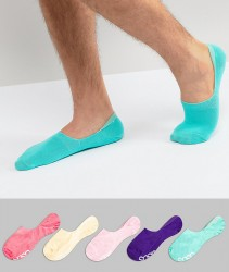 ASOS Invisible Socks In Bright Colours & Branded Soles 5 Pack - Multi