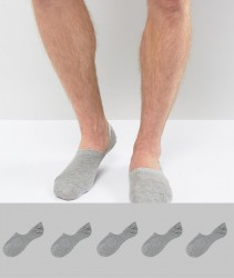 ASOS Invisible Socks In Grey 5 Pack SAVE - Grey