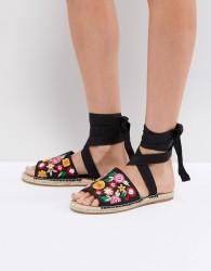 ASOS JAC Embroidery Espadrille Sandals - Black