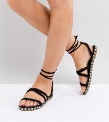 ASOS JACI Wide Fit Plaited Espadrille Sandals - Black