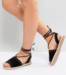 ASOS JASIA Wide Fit Espadrille Sandals - Black