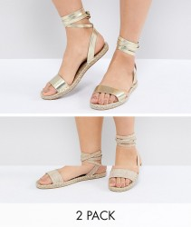ASOS JENICA Two Pack Espadrille Sandals - Multi