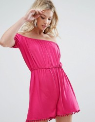 ASOS Jersey Off Shoulder Playsuit with Pom Pom Hem - Pink