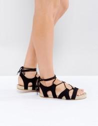 ASOS JORDY Lace Up Espadrille Sandals - Black