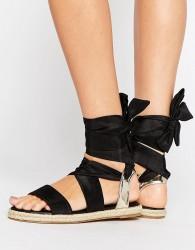 ASOS JULIA Tie Leg Sandal Espadrilles - Black