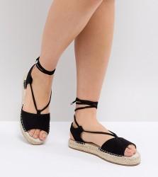 ASOS JUMP ON Tie Leg Espadrille Sandals - Black