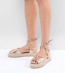 ASOS JUMP ON Tie Leg Espadrille Sandals - Gold