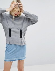 ASOS Jumper In Rib with Corset Front Detail - Grey