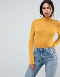 ASOS Jumper with Roll Neck and Sheer Panel Detail - Yellow