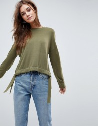 ASOS Jumper with Rouche Tie Hem - Green