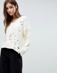 ASOS Jumper with V-Neck and Rolled Edges - Cream