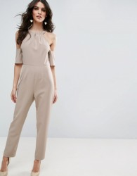 ASOS Jumpsuit with Cold Shoulder Detail - Beige