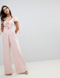 ASOS Jumpsuit with Soft Ruffle Detail - Brown