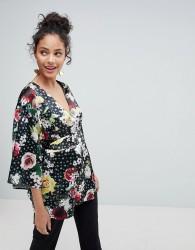 ASOS Kimono Wrap Top in Digi Floral - Multi
