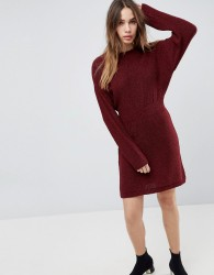 ASOS Knitted Dress In Batwing - Red
