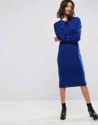 ASOS Knitted Dress In Midi Length With High Neck - Blue