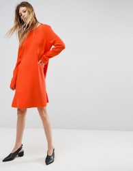 ASOS Knitted Dress with Frill Hem - Orange