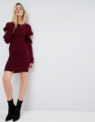 ASOS Knitted Dress with Ruffle Open Sleeve Detail - Black
