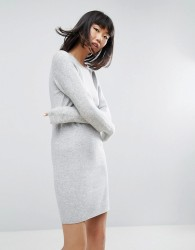 ASOS Knitted Dress With Stitch Sleeves - Grey