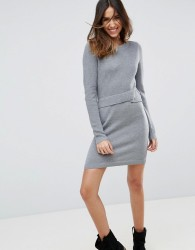 ASOS Knitted Dress With Wrap Detail - Grey
