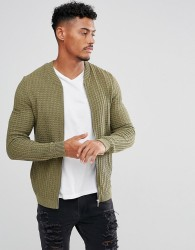 ASOS Knitted Muscle Fit Bomber Jacket In Khaki - Green