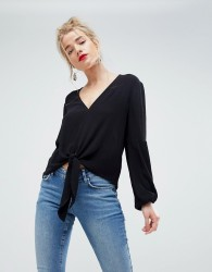ASOS Knot Front Top in Crinkle - Black