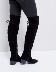 ASOS KOBRA Suede Over The Knee Boots - Black