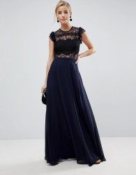 ASOS Lace Maxi Dress with Lace Frill Sleeve - Navy
