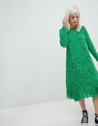 ASOS Lace Midi Swing Dress - Green