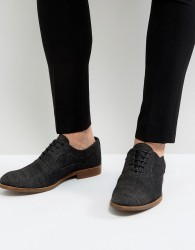 ASOS Lace Up Oxford Shoes In Denim - Black