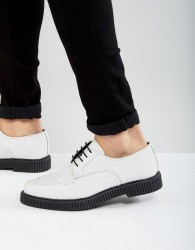 ASOS Lace Up Shoes In White Leather With Creeper Sole - White