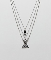 ASOS Layered Necklace In Burnished Silver With Ram And Eye Pendants - Silver