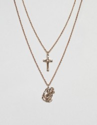 ASOS Layered Necklaces In Gold With Cross & St. Christopher Pendants - Gold