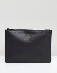ASOS Leather Clutch Bag With Foil Logo Emboss - Black