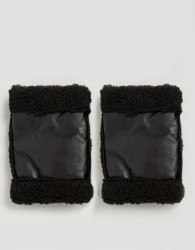 ASOS Leather Cuff In Black With Borg Lining - Black