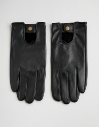 ASOS Leather Driving Gloves In Black - Black