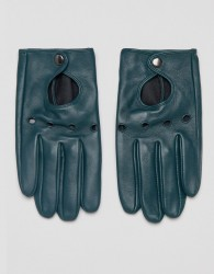 ASOS Leather Driving Gloves In Green - Green