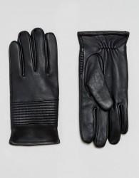 ASOS Leather Gloves in Black - Black
