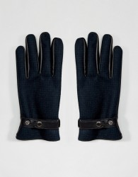 ASOS Leather Gloves In Green Check - Green
