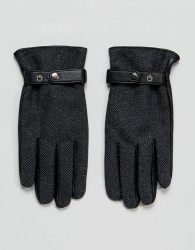 ASOS Leather Gloves In Grey Herringbone - Grey