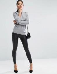 ASOS Leather Look Leggings with Elastic Slim Waist - Black
