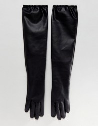ASOS Leather Look Long Gloves - Black