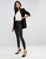 ASOS Leather Look Panelled Leggings with Biker Detail - Black