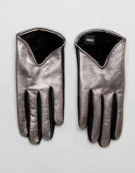 ASOS Leather Short Silver Metallic Gloves - Silver