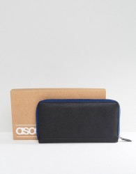 ASOS Leather Travel Document Wallet In Black With Contrast Navy Zip - Black