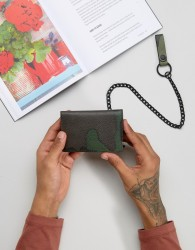 ASOS Leather Wallet In Camo Print With Chain - Green